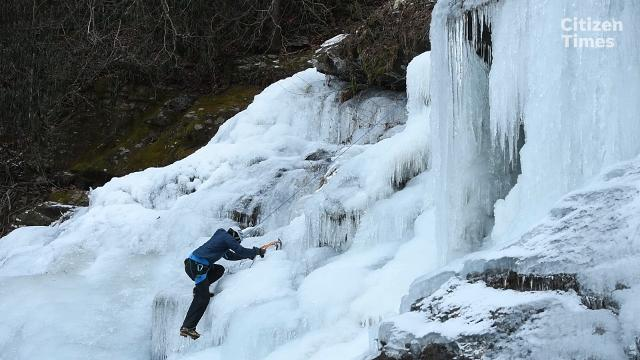Climbing instructor Anthony D'Ercole isn't letting the cold stop him from getting some climbing in this season.