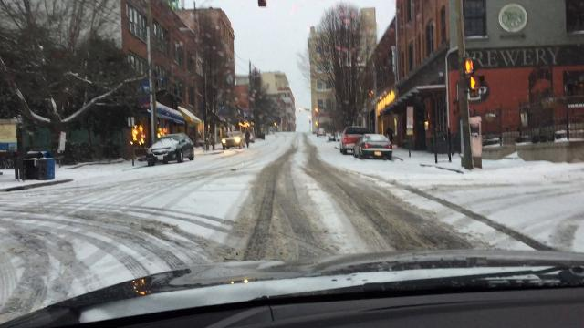 Asheville roads on a snowy Wednesday