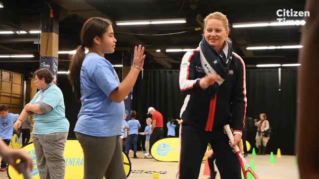 Students from Avery's Creek Elementary School participated in a Fed Cup Net Generation kid's clinic through the USTA at the U.S. Cellular Center on Wednesday, Feb. 7, 2018.