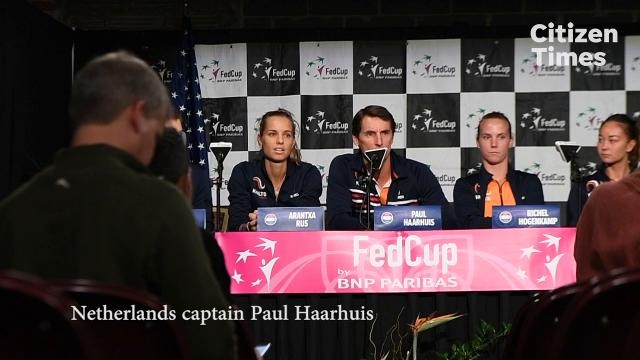 Netherlands captain Paul Haarhuis responds to fixes made to the 2018 Fed Cup court at the U.S. Cellular Center Friday after criticizing it earlier this week.