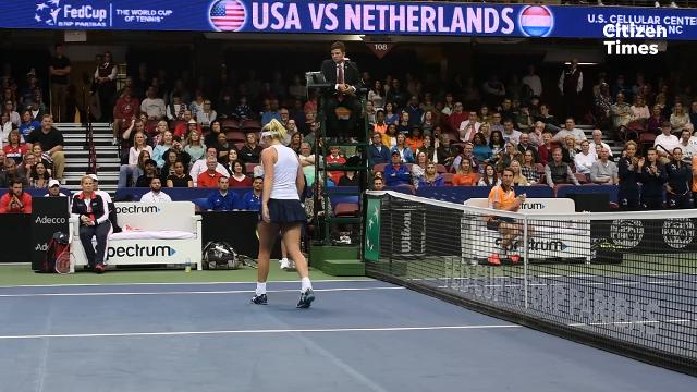 CoCo Vandeweghe defeated the Netherlands' Richel Hogenkamp in a three-set match on day one of the 2018 Fed Cup at the U.S. Cellular Center on Saturday, Feb. 10, 2018.