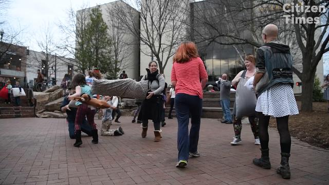 An anti-Valentine's Day pillow fight was held at Pritchard Park February 14, 2018.