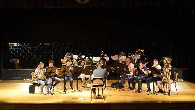 The Asheville Symphony Youth Orchestra and the Philharmonia ensemble rehearses at Enka high school