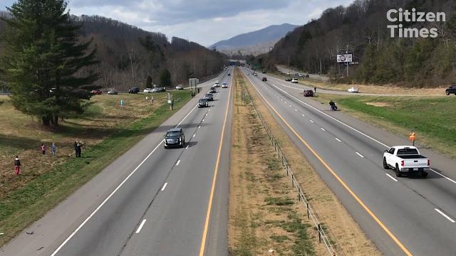Billy Graham motorcade travels on I-40