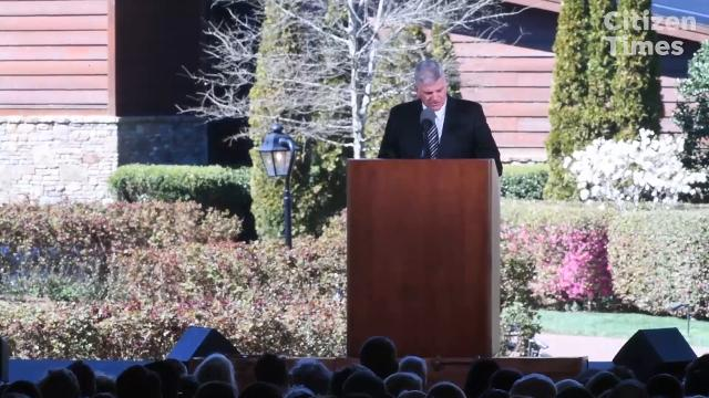 Franklin Graham, son of Billy Graham, speaks during his funeral March 2, 2018 in Charlotte.