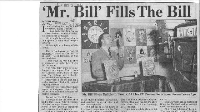A reader asks for an update on Bill Norwood, who hosted the 'Mr. Bill' children's TV program on WLOS-News 13 for decades.