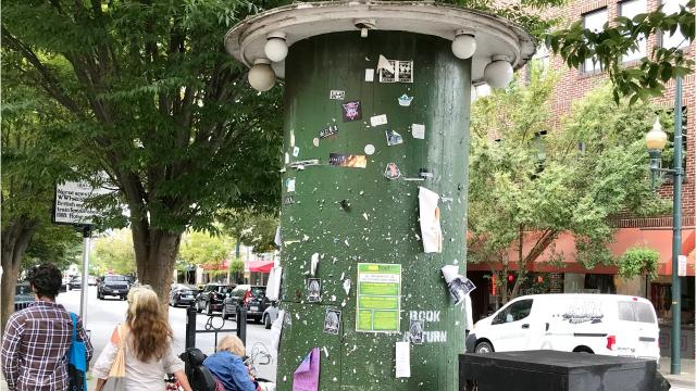 "A reader asks about the iconic cylindrical book drop in front of Pack Memorial Library, and if it will be replaced, as it's become a bit ""shabby"" looking."