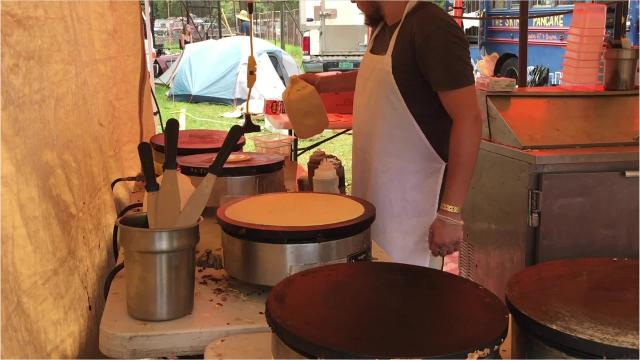 Explore the food vendors set up inside the Trumansburg fairgrounds for the 2017 Finger Lakes GrassRoots Festival of Music and Dance.