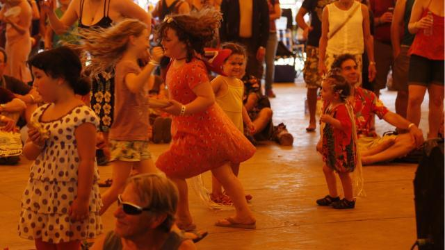 The dance tent at the Finger Lakes GrassRoots Festival of Music and Dance is a popular attraction.
