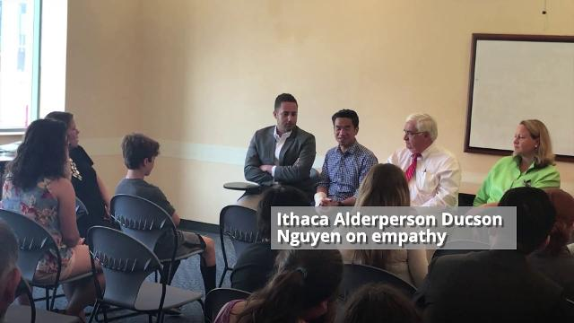 Ithaca Mayor Svante Myrick, Ithaca Alderperson Ducson Nguyen, Big Flats Town Supervisor Edward Fairbrother and former state senator candidate Leslie Danks Burke were among the guest speakers during a Politics of Teens event at the Tompkins Public Lib