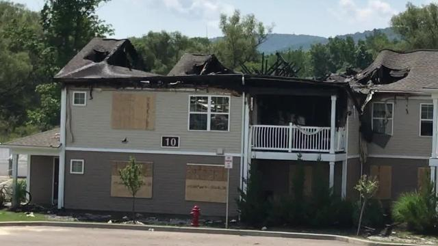 A large fire on Aug. 2 at Poets Landing Apartments in Dryden severely damaged one of the buildings in the complex, displacing eight families.
