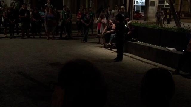 About 200 peoplegathered Sunday night to discuss and process the events in Charlottesville, Va., a day earlier.