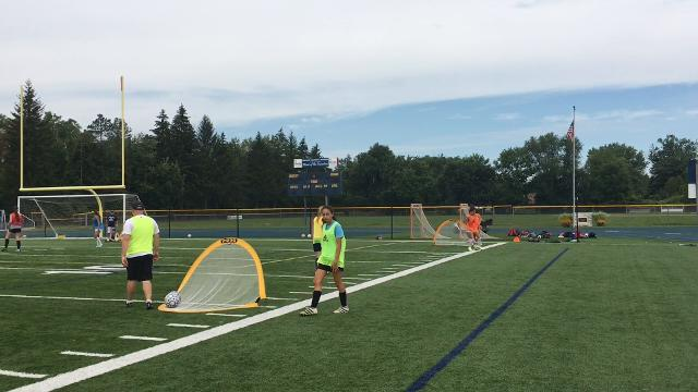 Video: Notre Dame girls open soccer practice