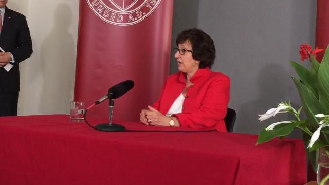 Cornell President Martha Pollack answers questions following her installation ceremony on Friday, Aug. 25.