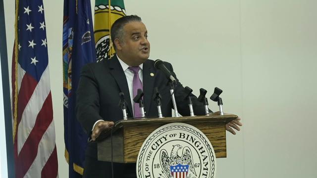 City of Binghamton Mayor Richard David delivers his 2018 budget address at City Hall.