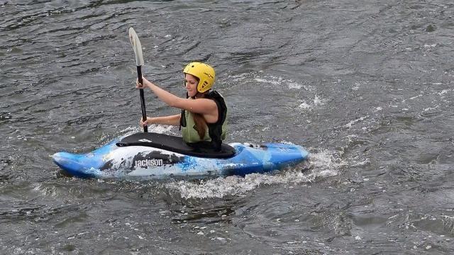 Binghamton University's white water kayaking class hits the Chenango River to learn skills for whitewater kayaking.