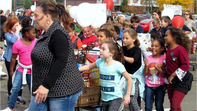 Volunteers turn out for the annual drive to collect food donations for charitable organizations.
