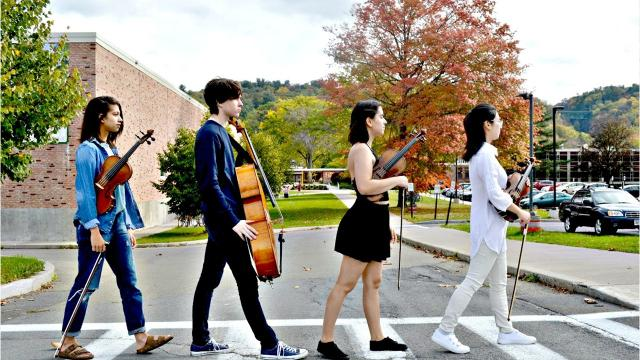 String quartets from Ithaca High School and New Roots Charter School will be joining Beatles and Rolling Stones tribute bands during a battle of the bands performance scheduled for 8 p.m. Dec. 1 at the State Theatre in Ithaca.