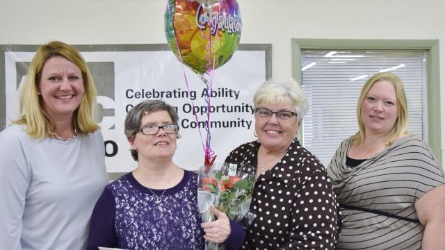 Jeanne Hansen, who works at the Arc of Otsego's Vocational Training Center, was awarded the  William B. Joslin Outstanding Performance Award, on Oct. 16.