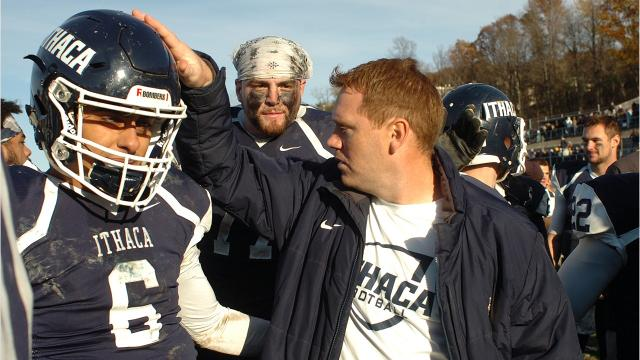 """The 59th annual Cortaca Jug, known as the """"biggest little game in the nation,"""" held on Saturday, Nov. 11, 2017, at Butterfield Stadium in Ithaca. Ithaca College defeated SUNY Cortland,  48-20."""