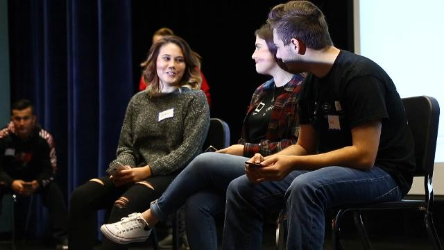 Maine-Endwell High School hosted an anti-cyber bullying ambassador training program. Students from Siena College, upstander ambassadors, trained M-E students to prevent cyberbullying and to help those who are victims of it.