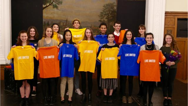 At a final ceremony of United Way of Tompkins County's Youth and Philanthrophy program, students presented a total of $25,000 in grants to 10 local nonprofits of their choosing.