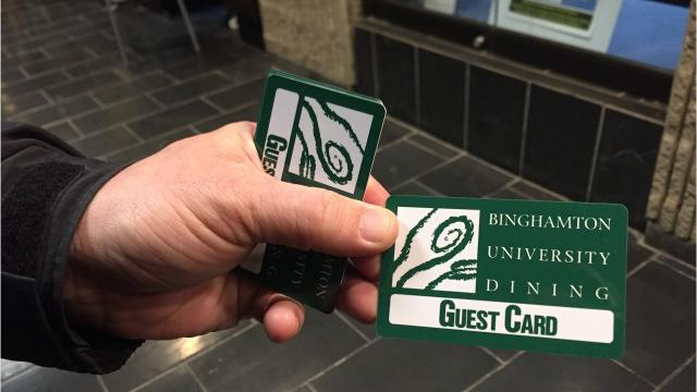 New York State University Police at Binghamton are handing out campus dining gift cards to Binghamton University students while they study for finals.