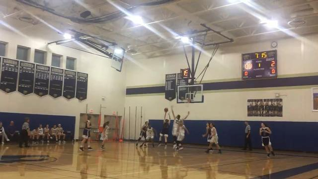 Susquehanna Valley's Maeve Donnelly makes a block, teammate Trinasia Kennedy starts the break and Hannah Haskell finishes in the Sabers' 61-25 victory over Norwich on Friday.