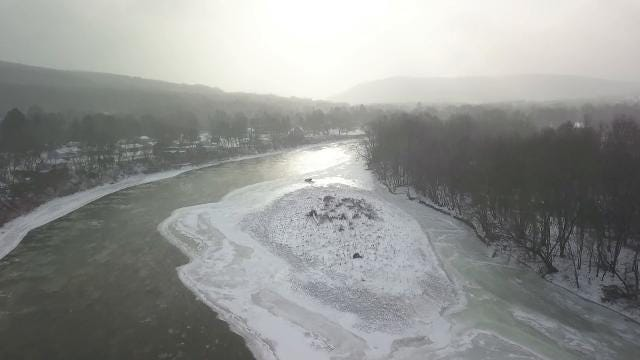 Jimmie Malone of Binghamton took this drone video starting at the Conklin at Kirkwood Bridge over the Susquehanna River on Friday, Jan. 5, 2018.