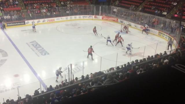 First-period action from the Binghamton Devils' home game against the Laval Rocket on Jan. 6 at the Floyd L. Maines Veterans Memorial Arena.