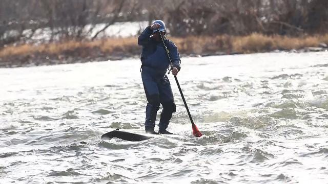 A group of paddling enthusiasts takes to the Susquehanna River in December.