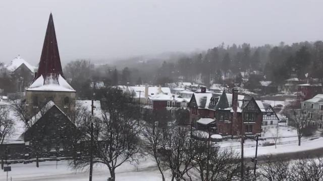 The average snowfall in Ithaca, Tompkins County, is 65 inches.