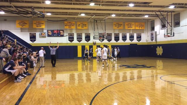 Elmira Notre Dame senior Gary Raupers had a second straight 35-point effort Jan. 19 as the Crusaders held off Watkins Glen, 65-63, in Southport.