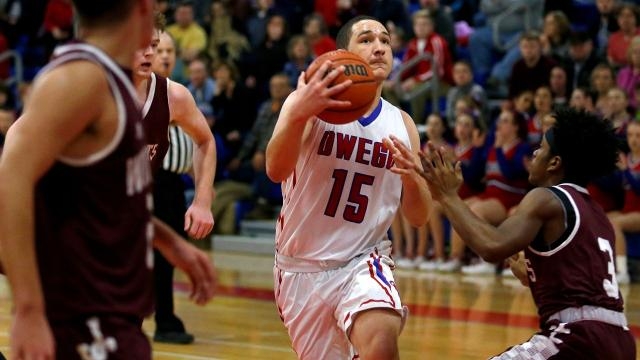 Owego's Kobe Bogart is acknowledged as one of the top players in Section 4 -  a strong, poised and highly skilled player who plays inside or outside with equal effectiveness. The Indians host Dryden at 7:30 Friday, Feb. 23 in the Class B playoffs.