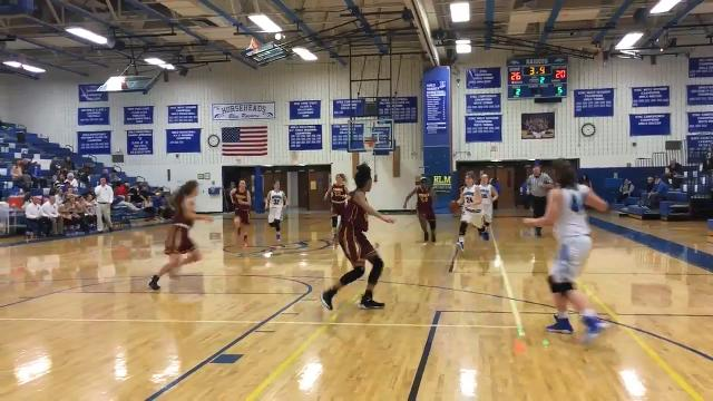 Jillian Casey scores 16 points, including a 3-pointer to end the first half, as Horseheads downed Ithaca, 49-39, on Feb. 1 at Horseheads Middle School.