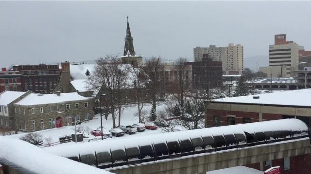 Scenes from Downtown Binghamton during Wednesday's snowstorm.