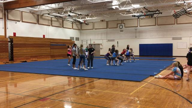 Horseheads and Elmira practice their routines as they get ready for upcoming cheer competitions.