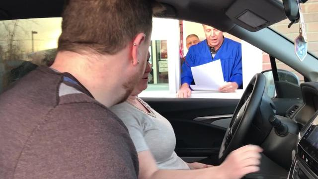 Cayuga Radio Group Q-Country 103.7 DJ and recently ordained minister Chris Allinger performed wedding vow renewals for couples at Ithaca's newly remodelled McDonald's on Tuesday.