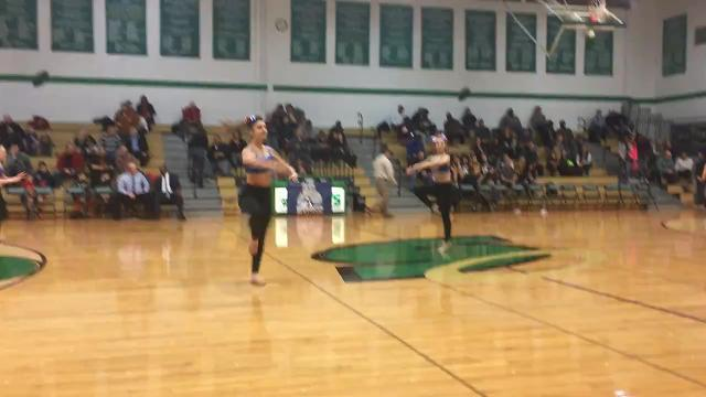 A cheer team performs during halftime of the Binghamton Bulldogs' ABA game against the NEPA Stars & Stripes on Feb. 3.