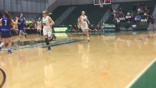 Binghamton University senior guard Imani Watkins becomes the Bearcats' all-tiime leading scorer on this three-pointer from the right wing with 4:08 left in the first quarter against UMass Lowell on Saturday at the Events Center.