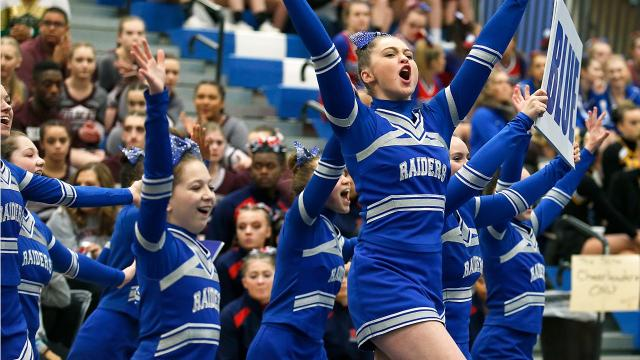 Southern Tier high school cheerleaders, including Elmira and Binghamton, have a dance off while awaiting results of the 2018 STAC cheerleading competition at Horseheads Middle School.