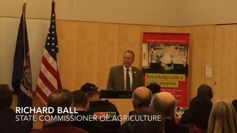 Richard Ball, New York State Commissioner of Agriculture, speaks at the 2018 Industrial Hemp Research Forum at Cornell University.