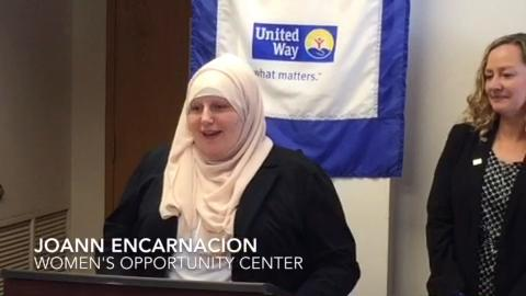 JoAnn Encarnacion, speaks about how she was helped by and eventually obtained a job at the Women's Opportunity Center. The nonprofit relies on funds from the United Way of Tompkins County.