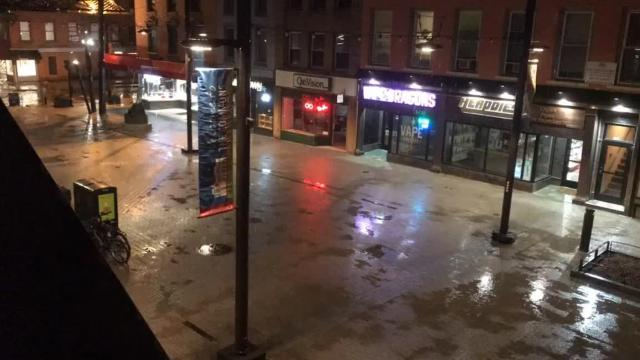 A time-lapse video of the Ithaca Commons from 3 to 9 a.m. on Friday, March 2, shows the rain turn to snow during the recent winter storm.