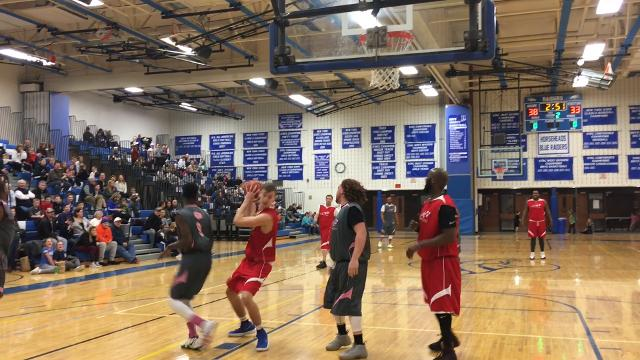 Horseheads Middle School hosted the It's OK to Dream charity game March 10. Proceeds benefited Elmira Heights cancer patient Maddy Brouwere, 13. NFL players who competed included former New York Giants players Tank Daniels and Jay Alford.