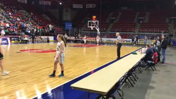 Susquehanna Valley senior Holly Manchester hits a three-pointer behind a screen from Michaela Haskell to give the Sabers a 32-25 lead in the third quarter of SV's 47-35 victory over Bishop Ludden on Sunday in Class B state quarterfinal at the Arena.