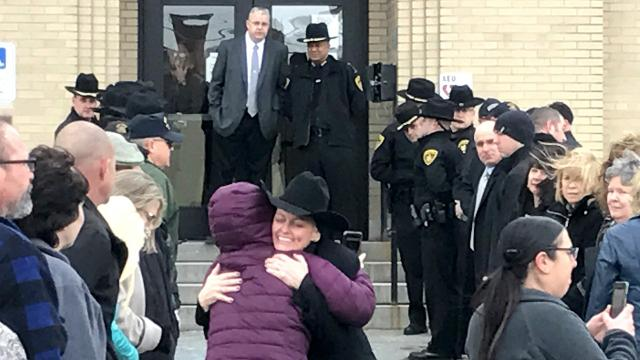 Law enforcement officers gave Lt. Sharon Douglas a sendoff Friday as she wrapped up a 28-year career.