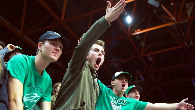 Seton Catholic Central High School cheered on the Saints to a doubleovertime victory over Buffalo's Health Sciences Charter School during the the 2018 NYSPHSAA Boys Basketball Championships at Floyd L. Maines Veterans Memorial Arena in Binghamton on Friday, March 16, 2018.
