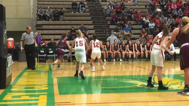 Delhi's Kaitlynn Finch received a pass from Logan Bruce and hits a three-pointer in the third quarter of Saturday's Class D state semifinal at Hudson Valley Community College. Finch had 13 points in the Bulldogs' 55-26 victory.