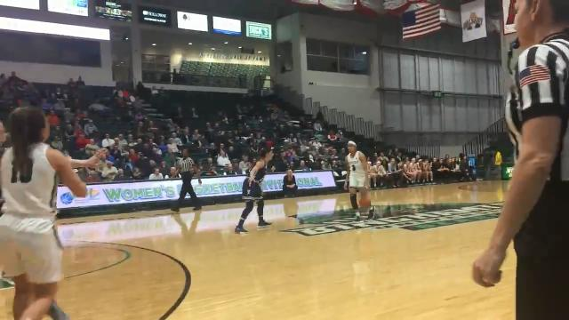 Binghamton University's Rebecca Carmody receives a pass from Imani Watkins and hits a baseline jumper in the first half of the Bearcats' 70-64 loss to visiting Yale on Tuesday.